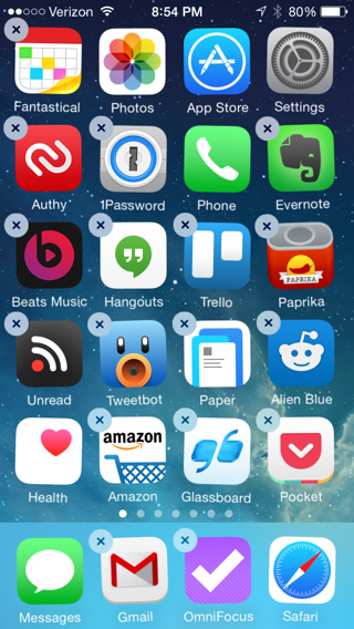 Home screen sweet ios 8 home screen while the icons are shaking a delete x appears on all app icons ccuart Image collections