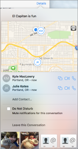 Connect with Messages in El Capitan